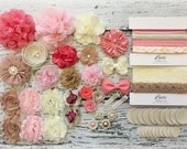DIY Headband Making Kit Shabby Chic Burlap, Pink, Ivory, Coral - Baby Shower Headband Station - Your Choice: MAKES 15 + or 25+ HEADBANDS!