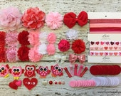 DIY Baby Headband Kit - Makes 21 Hair Accessories 16 Headbands and 5 Hair Clips!! SALE!!  Valentines Day Grab Bag - Hearts and Owls