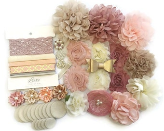 DIY Headband Kit - Vintage Dreams Collection - Makes 12 Headbands + 1 Clip! Baby Shower Headband Station - DIY Fabric Flower Headbands
