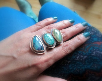 Blue Peruvian Opal Ring Imperial Jasper Amazonite Gemstone Cocktail Statement Mineral Stone Metalsmith Copper Jewelry Multistone