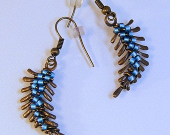 WRAPPED TURQUOISE Brass FEATHER Earrings