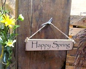 Happy Spring, Little Wooden Sign, Springtime Decor, Spring Fever, Wood Sign Saying, Signs With Words, Small Signs For Gifts, Tiny Signs