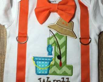 Boys first birthday fishing bodysuit or shirt with suspenders and bow tie
