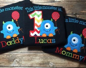 Boys little monster first birthday shirt with matching parent shirts