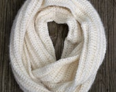 Crochet Textured Infinity Scarf -  Off White Alpaca