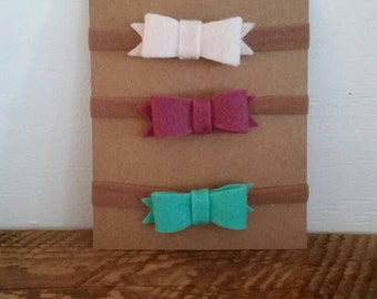 Felt baby bows; baby headbands; baby accessories