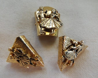 southwest 1950s square dancing gold collar tips and Bolo/scarf slide  dancing  couple