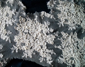 Vintage French Alencon Lace, White Lace, Vintage Lace for Wedding Dress, Ring Bearer Pillow, negligee, nightgown, slip
