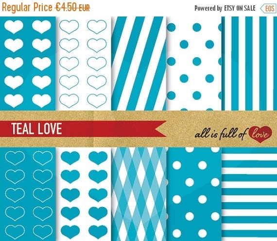 80% OFF DIGITAL PAPER Pack Blue Teal heart patterns polka dots stripes Clipart Valentines Digital Paper 12/15