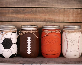 Sports Theme Mason Jars-Soccer, Football, Basketball, Baseball