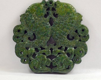 Unique Antique Green Jade Pendant Double Side Fish Bat double Fish Carved Pendant Amulet Talisman for Your Handmade Jewelry