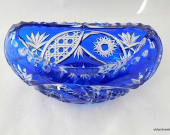 Bohemian Crystal Bowl, Blue Crystal, ,Oblong Bowl, Crystal Dish, Gondola,