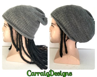BUY1GET1HalfPRICE, Dreadlocks mans mens unisex hand knitted long oversized rasta slouch beanie hippie hat,grey dread tam,guy boyfriend baggy