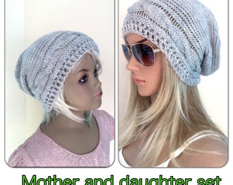 MOTHER and DAUGHTER set crocheted,knitted hippie Slouch beanie grey cables,unique designer,kids adult child sets matching hats sisters
