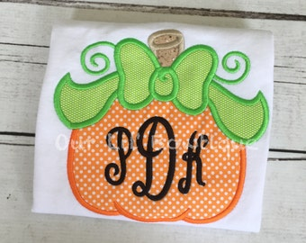 Pumpkin Halloween Shirt - Girls Pumpkin Shirt - Pumpkin Birthday Shirt -  Fall Shirt - Monogram Pumpkin Shirt