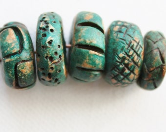 Rustic Polymer Clay Beads - Forest Green Large Handmade Rondelles - Organic Ancient Tribal - Set of 5 - The Bead Hutch (S11)