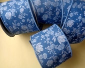 Wired Floral Cotton Thick Ribbon, Blue, 2 1/2 inch wide, 1 yard, For Gift Packing, Wreaths, Center Pieces, Home Decor, Romantic Crafts.
