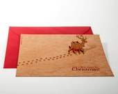 pop up card wood with envelope - reindeer