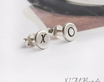 Tiny XO Stud Earrings Sterling Silver Organic Handstamped Disc Minimalist Simple Love Jewelry Hugs and Kisses Bestfriend Gift For Her