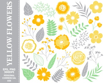 70% OFF SALE Yellow Flowers Clip Art - Leaves, Flowers, Fall, Orange, Yellow, Grey, Floral Clip Art