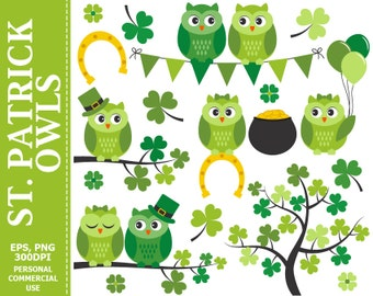 50% OFF SALE St Patrick Owls Clip Art - Owls, Spring, Irish, Branch, Pot of Gold, Shamrock Clip Art,