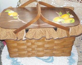 Vintage Basket Ville Woven Wood Country Farm House Basket /Ville Picnic Basket  :) NOT INCLUDED In Any Discount or Coupon Sales S