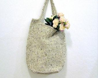 Rustic Large Crochet Bag / Oatmeal Beige Purse / Large Overnight Bag / Crochet Wool Blend Tote