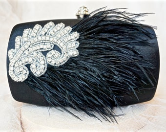 Black Feather Clutch, Black Satin Clutch,Black Evening Clutch,Black Hard Case Clutch,Black Rhinestone Clutch,Black Evening Purse
