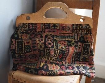 Vintage Tapestry Bag - Wooden Handles