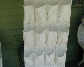 Vintage Cottage Chic Closet Organizer for Shoes or Accessories, 20 Pockets