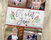 Oh What Fun Icy Holly, Holiday Cards, Christmas Cards, DIY Printable, digital file (item 1514)