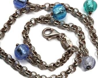 Sterling Silver Murano Glass Bead Bracelet, Vintage Signed Milor ,Made in Italy, Boho