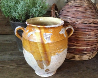 French Confit Pot, 19th C French Large Confit Pot Jar Yellow Ochre Glaze Beautifully Aged French Farmhouse Terra Cotta