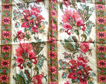 3.5 Yards Sweet Vintage Taffeta Border Print Fabric Pink Gold Flowers Striped Floral Circle Skirt Dress Yardage Mid Century Cute Bright Fun