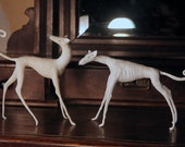 Special Order from Hound Sanctuary. 2 Greyhound Figurines. Original Handmade Cold Porcelain Dog Sculpture.