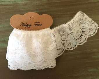"""Double White Lace / 1.5 yards Vintage White Lace Scalloped 2"""" Wide  Trim Lace #230"""