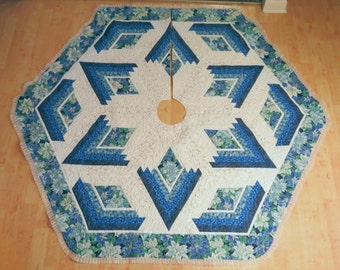 Quilted Christmas Holiday Tree Skirt Blue Poinsettia 192