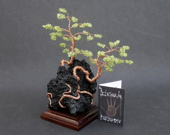 Windswept Wire Sculpture Gemstone Peridot Bonsai Canary Island Pine Trees on Lanzarote Volcanic Lava Stone, with Wooden Base