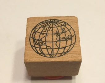 small Globe rubber stamp, 22 mm (A11/1)