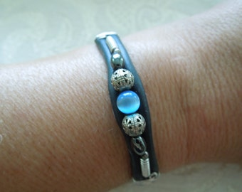 Vintage Bracelet, Black Rubber with Wire, Hematite, and Blue Stone, Pretty