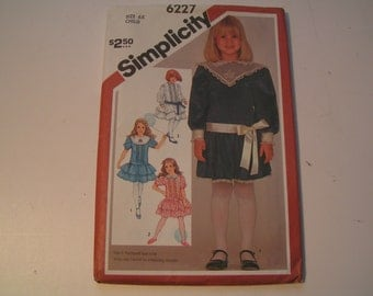 Vintage Simplicity 6227 Child Dropped Waist Dress Yellow Wax Transfer for Embroidery Included