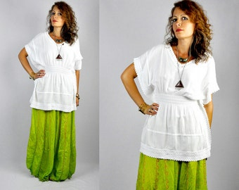 White Mexican Blouse - Cotton Gauze - Crochet LACE - Tunic Blouse Top - Sheer - Batwing Short Sleeves  - Boho Hippie Gypsy size S - M