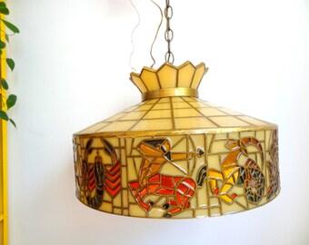 Vintage 70's Zodiac Astrological Large Hanging Pendant Light Chandelier