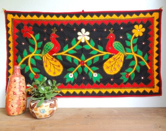 Indian Wall Hanging Tapestry, Bold Birds, Primary Colors