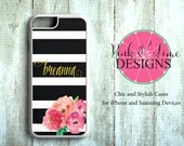 Personalized Phone Case, Tartan Plaid, iPhone 4/4S, iPhone 5/5S, iPhone 5C, iPhone 6/6+, Samsung Galaxy, Monogram Phone Case, Floral Design