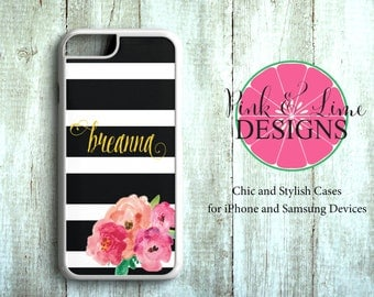 Personalized Phone Case, iPhone 4/4S, iPhone 5/5S, iPhone 5C, iPhone 6/6+, Samsung Galaxy, Monogram Phone Case, Floral Design