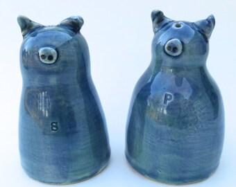 Salt and Pepper Shakers, Blue Pigs, Handmade  Ceramic Pottery