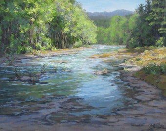 Fresh Greens - Original River Painting
