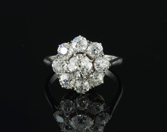 Reserved! Outstanding Edwardian 3.10 Ct diamond solid platinum cluster ring