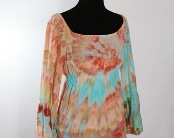 Size Small Tiered Bell  Sleeve Peasant Tunic Top, Rayon Light, Ice Dyed Tie Dyed Coral Reef Colors,  READY To SHIP